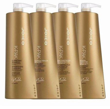 Kit Joico K-Pak 4 Passos - Shampoo 1 Litro, Selador de Cutícula 1 Litro, Reconstrutor 1 Litro e Hidratação 1 Litro