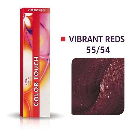 Tonalizante Wella Color Touch Vibrant Reds 55/54 60g Castanho Claro Intenso Acaju Avermelhado