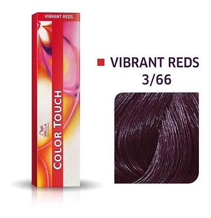 Tonalizante Wella Color Touch Vibrant Reds 3/66 60g Castanho Escuro Violeta Intenso