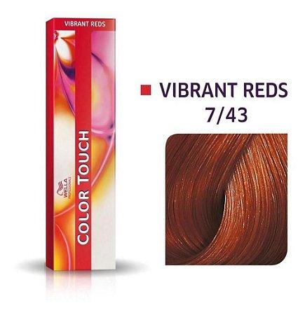 Tonalizante Wella Color Touch Vibrant Reds 7/43 60g Louro Médio Vermelho Dourado