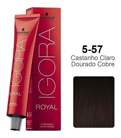 Coloração Schwarzkopf Igora 5-57 Castanho Claro Dourado Cobre
