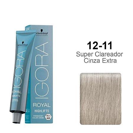 Coloração Schwarzkopf Igora Highlifts 12-11 Super Clareador Cinza Extra