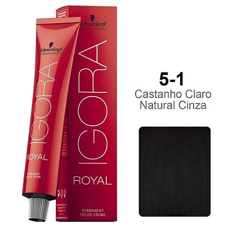 Coloração Schwarzkopf Igora 5-1 Castanho Claro Natural Cinza