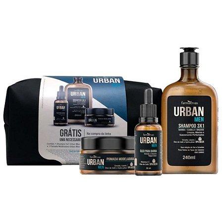 Kit Urban Men Shampoo Oleo Pomada Necessaire