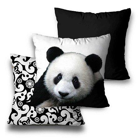 kit 3 almofadas panda