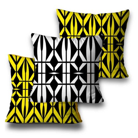 kit 3 almofadas geométrica amarela