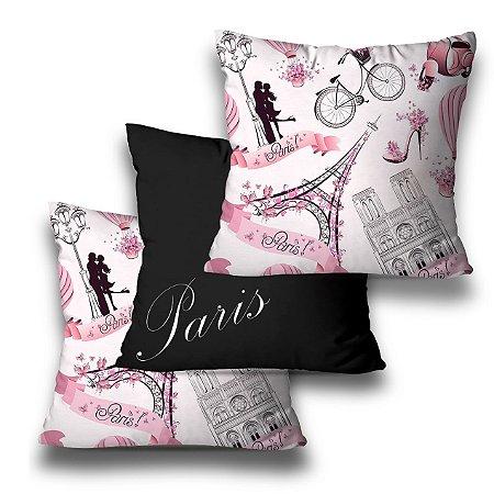 kit 3 almofadas Paris rosa