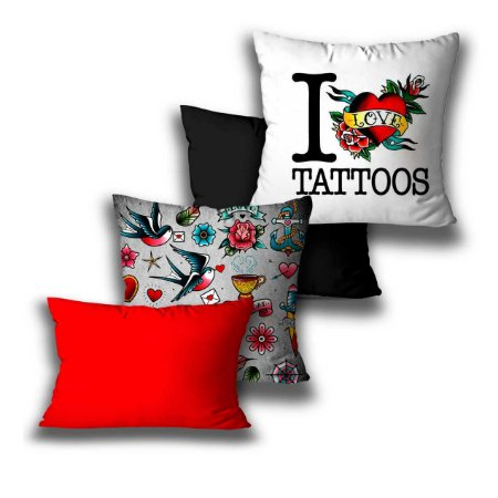 kit 4 almofadas tatoo love
