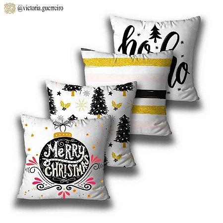 KIT 4 ALMOFADAS OU CAPAS MERRY CHRISTMAS