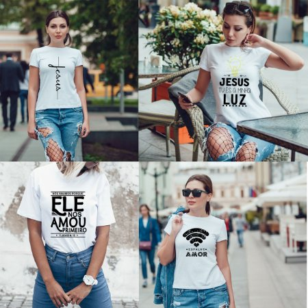 Kit 4 camisetas T-shirt  feminina gospel