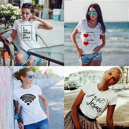 Kit 4 camisetas T-shirt  feminina Jesus