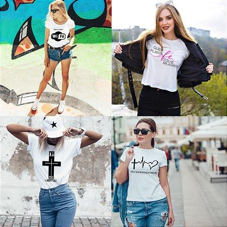 Kit 4 camisetas T-shirt  feminina Deus