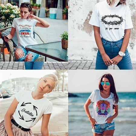 Kit 4 camisetas T-shirt  feminina Fé