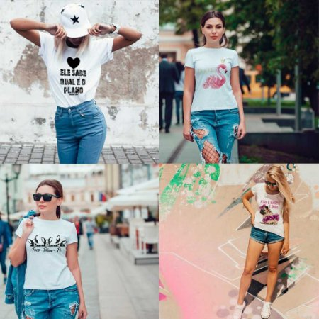 Kit 4 camisetas T-shirt  feminina Benção