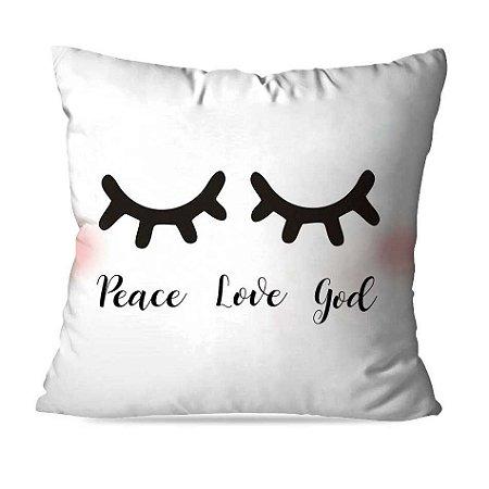 CAPA OU ALMOFADA PEACE LOVE GIRL