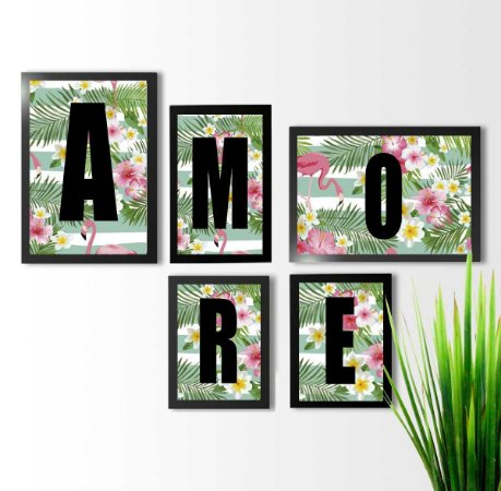 KIT 5 QUADROS DECORATIVOS AMORE