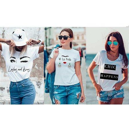 71e61c54b0 Kit 3 camisetas T-shirt feminina Chic - VG SHOP