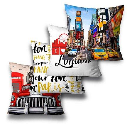 Kit 4 almofadas Love London
