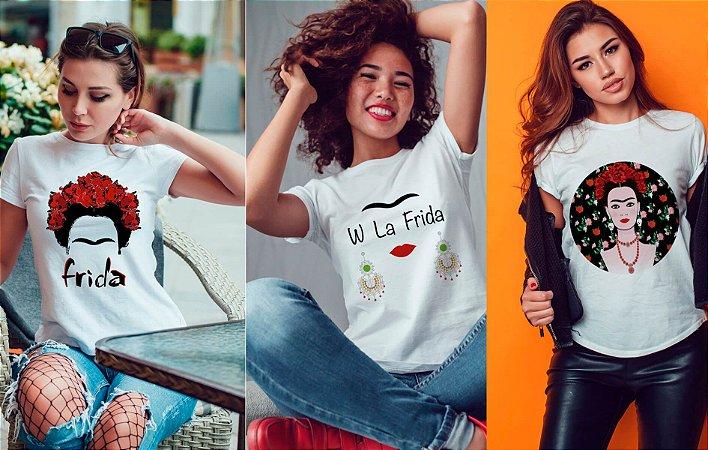 Kit 3 camisetas T-shirt  feminina Frida