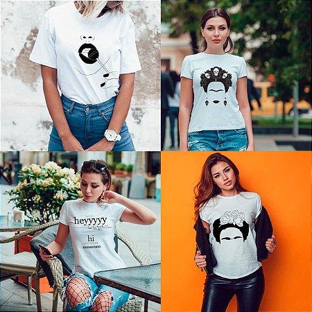 Kit 4 camisetas T-shirt  feminina Kahlo