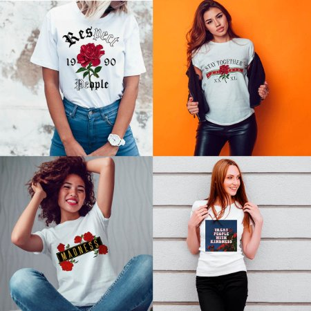 Kit 4 camisetas T-shirt  feminina Hei Hei