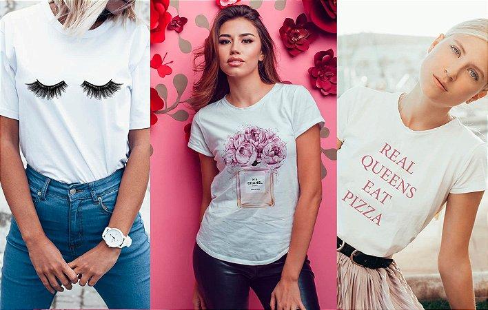 Kit 3 camisetas T-shirt  feminina Queen