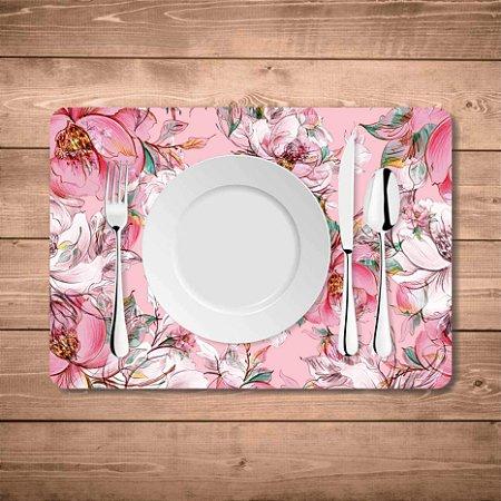 Jogo Americano Geométrico Florais Rosas