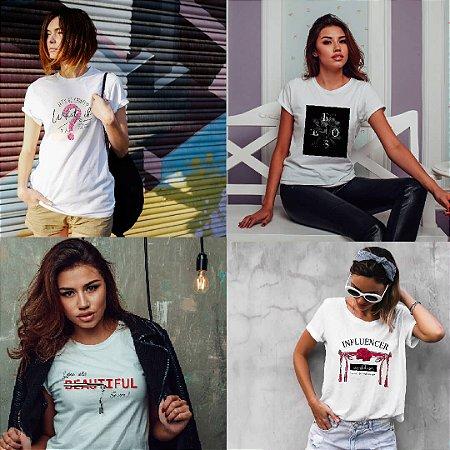 Kit 4 camisetas T-shirt  feminina Beautiful
