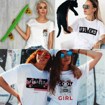 Kit 4 camisetas T-shirt  feminina Cat bolso