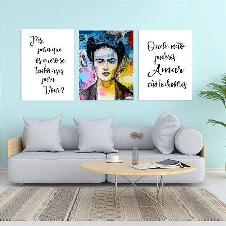 kit 3 quadros decorativos Frida by Paulo Handa