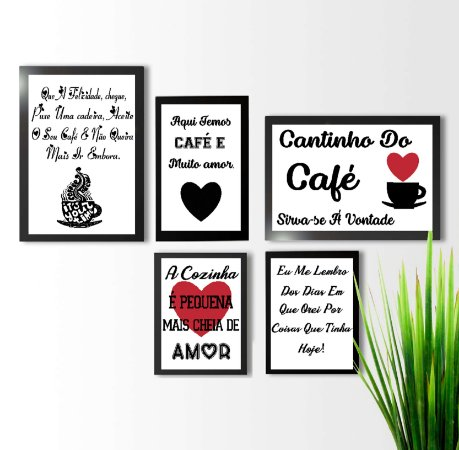 KIT 5 QUADROS DECORATIVOS CAFÉ LOVE