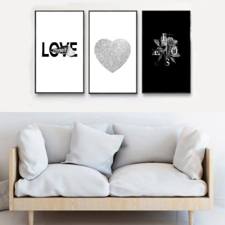 KIT 3 QUADROS DECORATIVOS LOVE PRATA