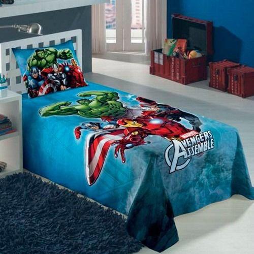 3d5f0d8fda Jogo de cama solteiro infantil 2 peças tema Vingadores - kidmaisbebe