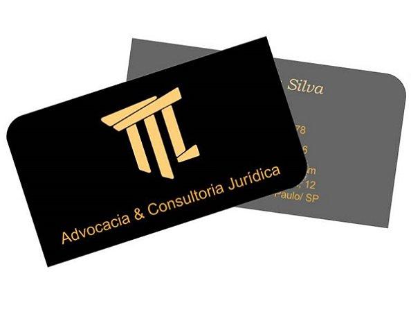 1000 Cartão de Visita 48x88mm em Couché Fosco 300g - 4x4 - Laminação Fosca e Verniz Localizado F/V - 2 Cantos Arredondados
