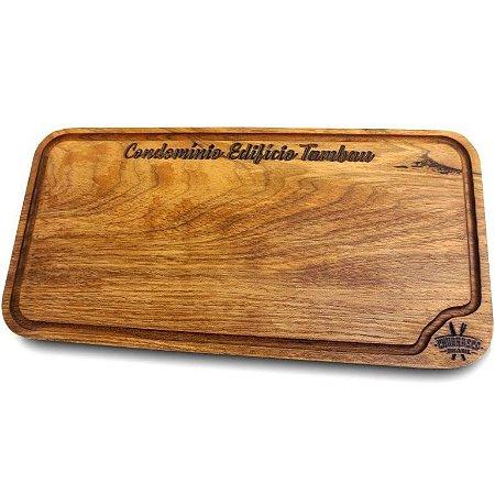 Tabua de carne em madeira, Gourmet canaleta redonda