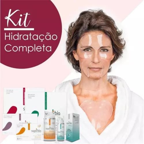 KIT HIDRATAÇÃO COMPLETA -  Adesivos para Rosto (testa + olhos) + Adesivo para Colo + Adesivos para Bigode Chinês + Placas Adesivas (Pescoço ou Mãos) + Loção de Limpeza + Primer com Ácido Hialurônico