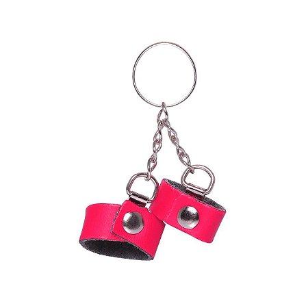 Chaveiro Mini algema em couro ecológico Rosa