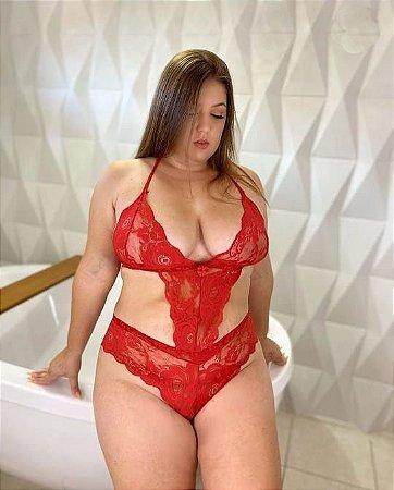 Body em Renda Aberto Plus Size Vermelho