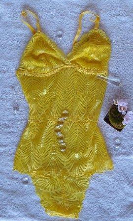 Body em Renda Fechado Amarelo M