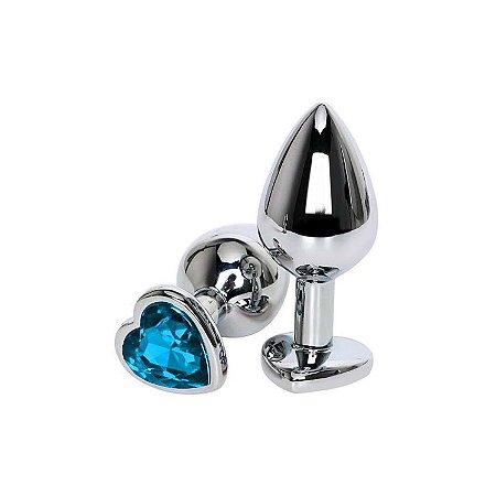 Plug em Metal com Pedra Coração Azul Céu Tam M