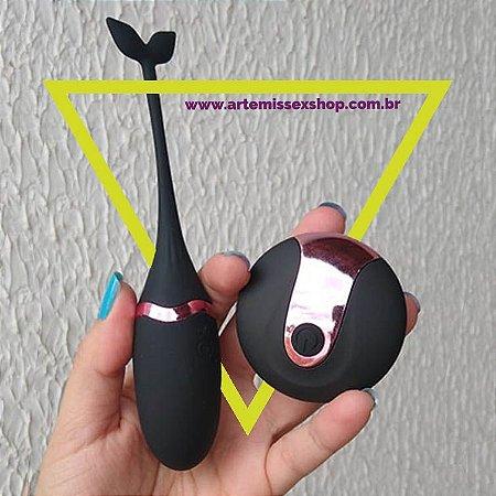 Vibrador com Rabinho e controle sem fio USB Preto