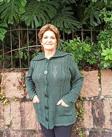 CASACÃO FEMININO COM BOLSO GOLA E BOTÕES