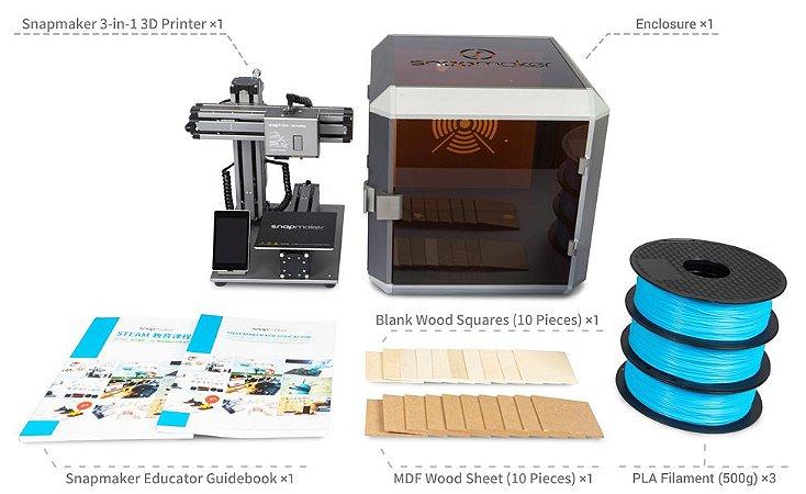 SNAPMAKER EDUCATION BUNDLE - IMPRESSORA 3D MULTIFUNCIONAL - IMPRESSÃO EM 3D - GRAVAÇÃO A LASER - USINAGEM CNC