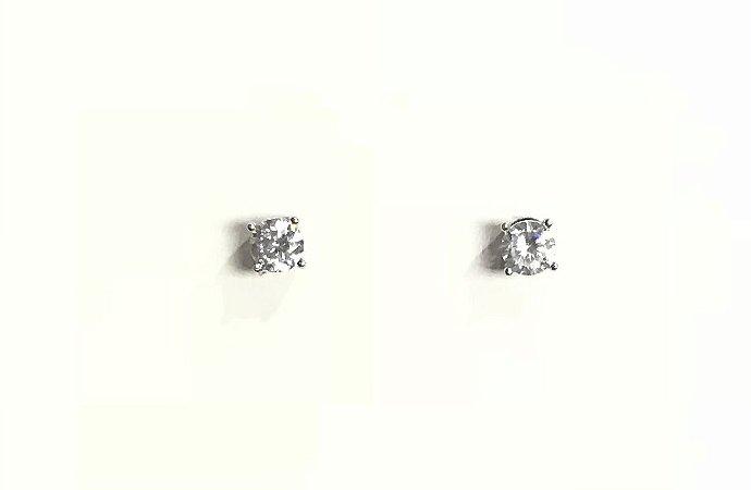 Brinco mini em Prata 925 Ponto de Luz com Zircônia