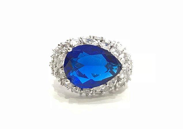 Anel com Zircônias e Pedra Azul Aro 18