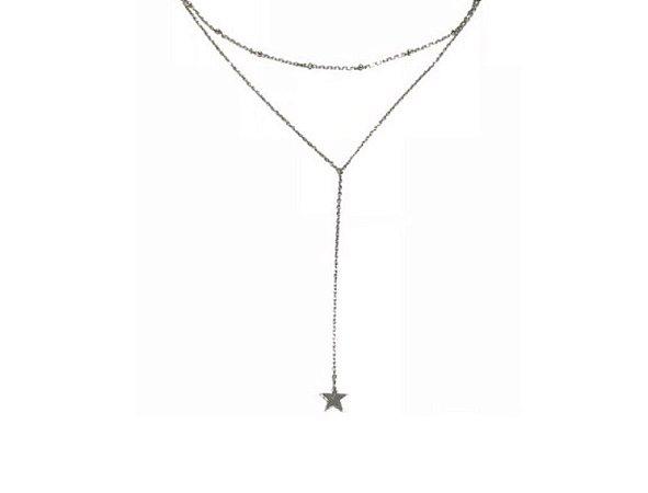 Colar Gargantilha em Prata 925 com Estrela Pendente
