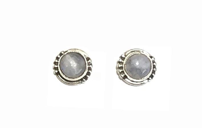Brinco Ponto em Prata 925 e Pedra da Lua