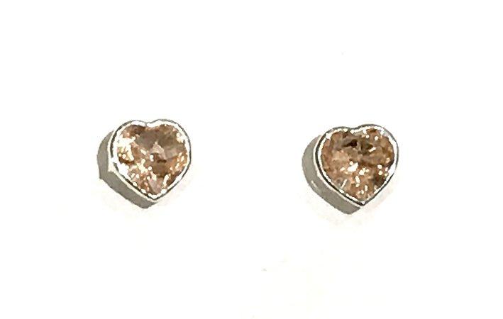 Brinco em Prata 925 Coração com Zircônia Fusion Morganita