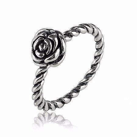 Anel em Prata 925 Retorcido Rosa do Amor Aro 15