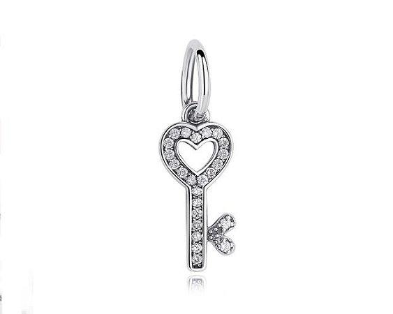 Pingente em Prata 925 Chave do Coração